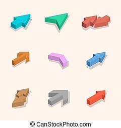Flat arrows isometric, vector illustration.