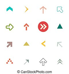 Flat Arrows Set. Vector Arrow Symbols Isolated on White Background.
