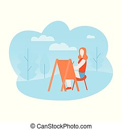 Flat art therapy in the park. Artist drawing on open air. Girl painting outdoor.