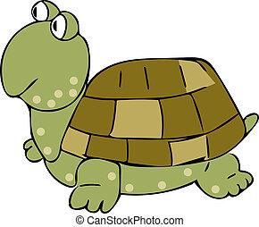 Flat Art Tortoise Cartoon Character Illustration