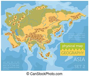 flat asia physical map constructor elements on the water surface build your own geography infographics