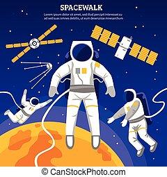 Flat Astronauts Illustration