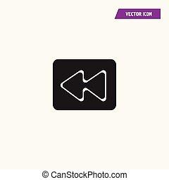 Flat audio, video, media fast backward Icon.