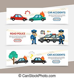 Flat Auto Accident Horizontal Banners
