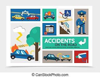 Flat Auto Accident Infographic Concept
