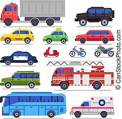 Flat auto transport. City road car, bicycle and motorcycle. Ambulance car, fire engine and town transporter bus isolated vector set