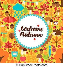 Flat Autumn Postcard
