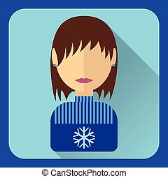 Flat avatar. Brunette girl with short hair in a blue sweater, snowflake