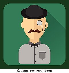 Flat avatar. Man with mustache, wearing a hat, monocle