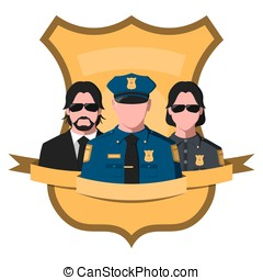 Flat avatar of police team. Emblem with silhouettes of...