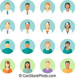 Set of round avatars different medical stuff like general doctor, therapist, surgeon and otolaryngologist. Also icons of patients for medical forum