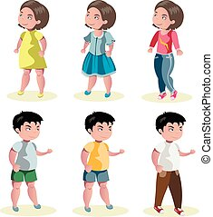 Flat baby boy and girl fashion icon set