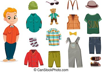 Flat Baby Boy Fashion Icon Set