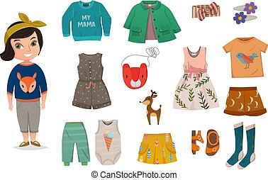 Flat Baby Girl Fashion Icon Set