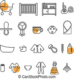 Flat baby icons collection