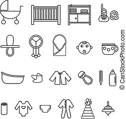 Flat baby icons collection - Outline flat web icon set. Baby...