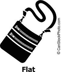 Flat bag icon, simple black style