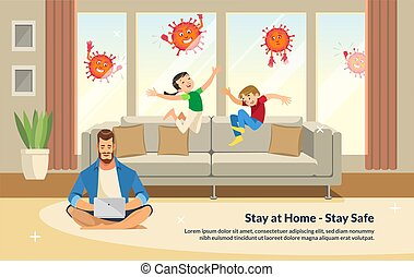 Flat Banner Illustration Stay at Home - Stay Safe