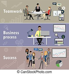 flat banner set with teamwork, business process and success
