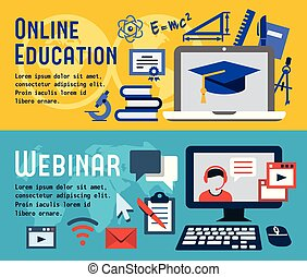 Flat banners for online education and webinar