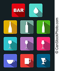 Bar icons set with long shadow