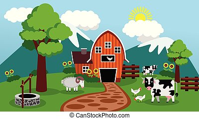 Flat Barn Design When The Sun is Shining on Livestock with Mountain Background (Morning)