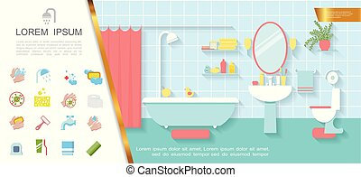 Flat Bathroom Interior Colorful Concept