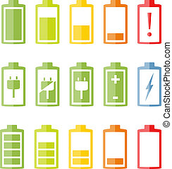Flat Battery Icons Set