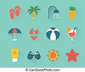Flat beach icons set on blue background