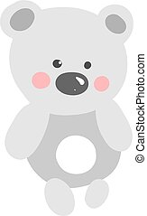 Flat bear, illustration, vector on white background.