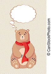 Flat Bear with thought cloud vector illustration. Teddy and thinking bubble