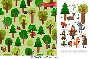 Flat Beautiful Forest Concept