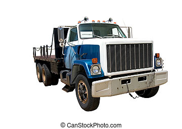 Flat Bed Truck front angle isolated