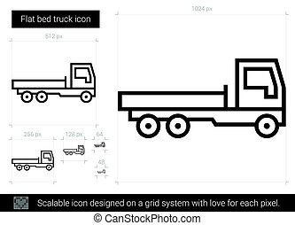 Flat bed truck line icon. - Flat bed truck vector line icon...