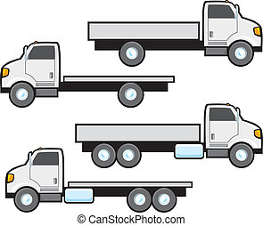 Typical styles of American flat bed commercial trucks. Trucks are plain white and blank but can be changed to any color using vector editing software.