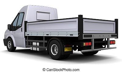 Flat bed van - 3D Render of a flat bed van