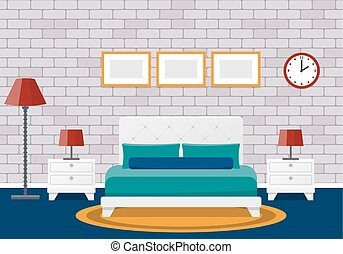 Flat bedroom interior. Hotel room design. Vector background.