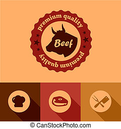 flat beef design elements - Illustration of Beef labels in ...