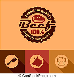 Illustration of Beef Labels in Flat Design Style.