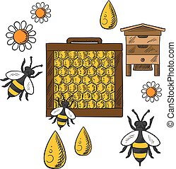 Flat beekeeping concept with beehive and bees