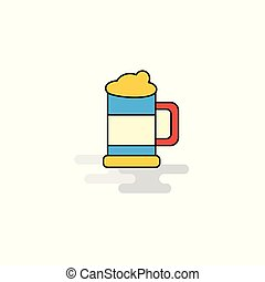 Flat Beer glass Icon. Vector