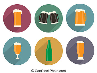 Flat beer icons with long shadow. Vector set