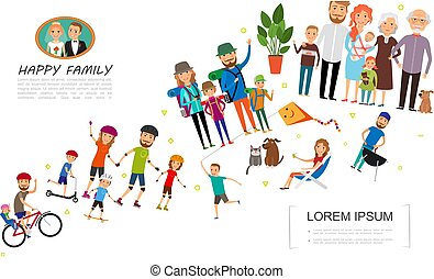 Flat Big Family Colorful Concept