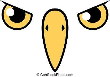 flat bird face draw