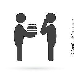 Flat birthday icon isolated on white