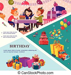 Flat Birthday Party Template