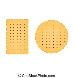 Flat biscuit icon isolated on white background. Vector illustration