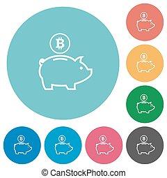 Flat bitcoin piggy bank icons