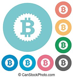 Flat bitcoin sticker icons