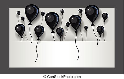Flat black air balloons background. Black balloons fly in space between layers for text.